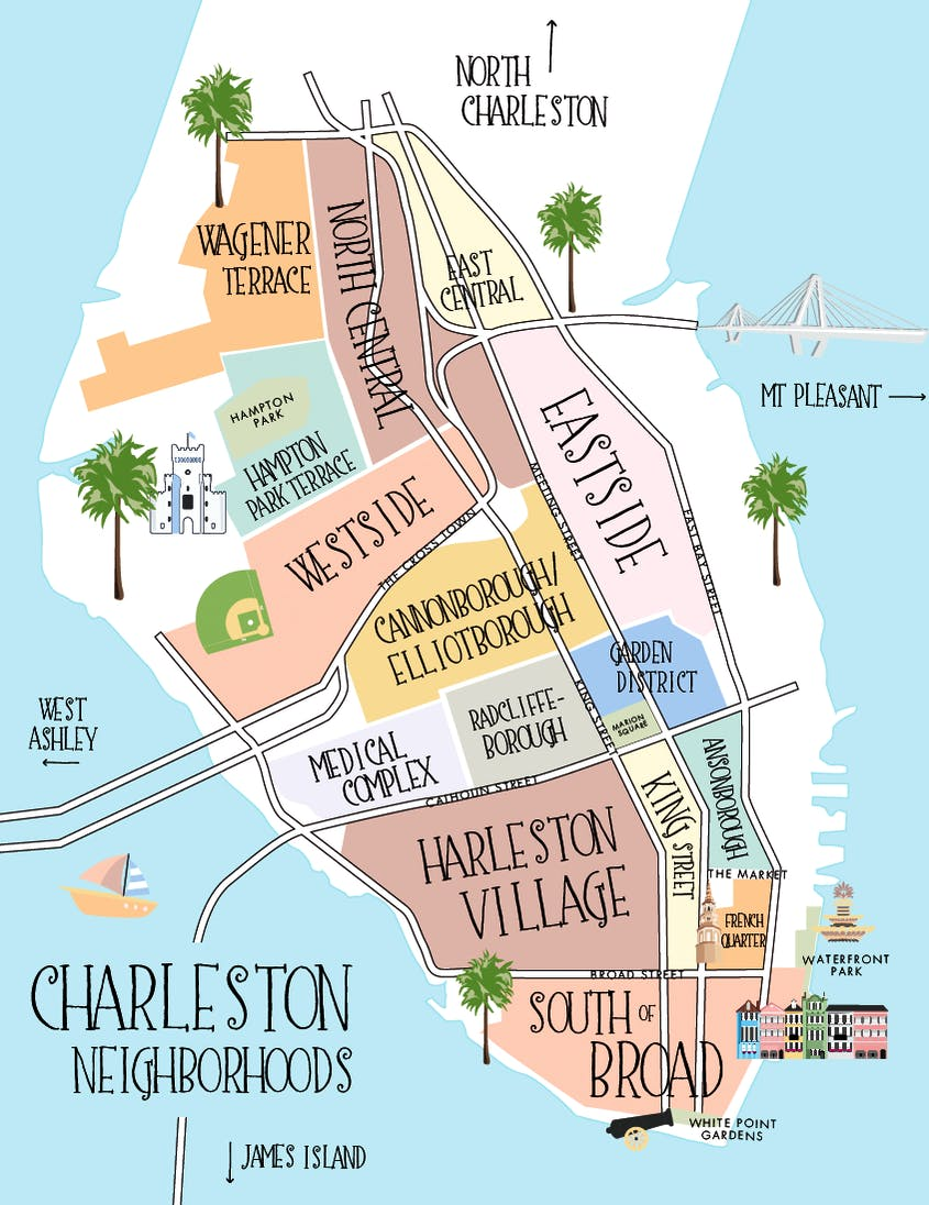 Charleston Neighborhood Guide on charleston map attractions, charleston tourist map, charleston sc overview, georgetown sc historic district map, charleston old slave mart, historic homes charleston sc map, charleston street map, u.s. post office and courthouse, charleston sc sightseeing maps, charleston south carolina, charleston sc hotels historic district, charleston nc map, philadelphia historic district map, french quarter, phoenix historic district map, exchange and provost, the citadel, charleston peninsula map, charleston on a map, allentown pa historic district map, charleston sc beaches,