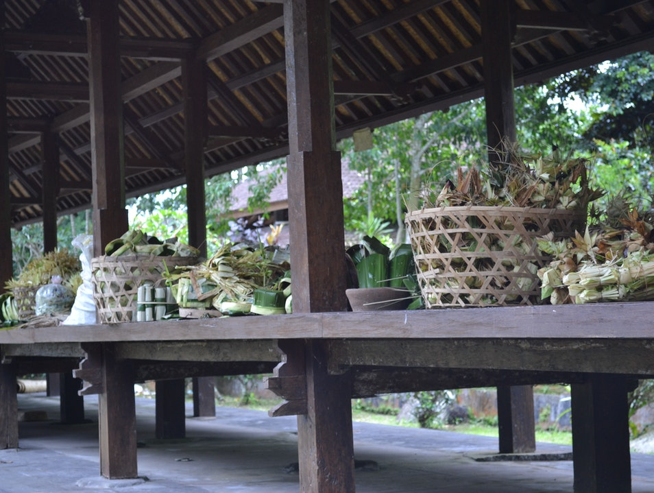Villagers preparing for the 100 and 1000's of offering needed soon Denpasar  Indonesia