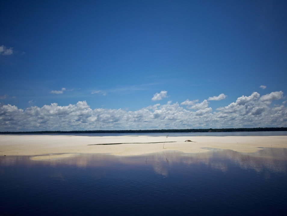 White sand island in the middle of the Amazon River   Brazil