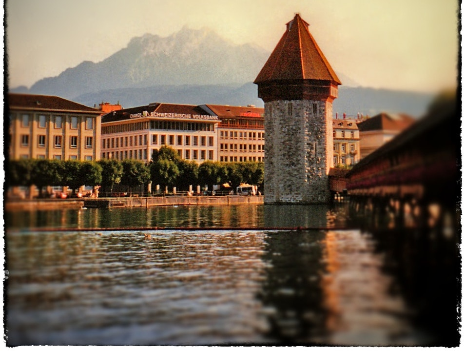 Bridge, Tower, Mountain: Lucerne Luzern  Switzerland