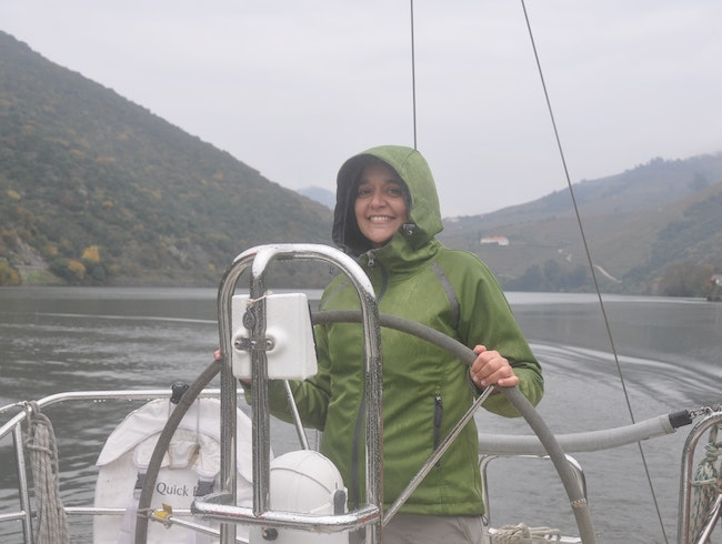 Aboard a sailboat in Douro Valley
