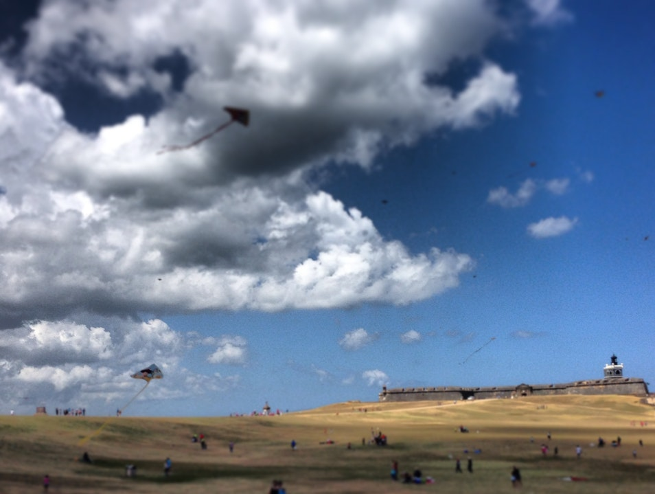 Flying a Kite at El Morro Lighthouse San Juan  Puerto Rico