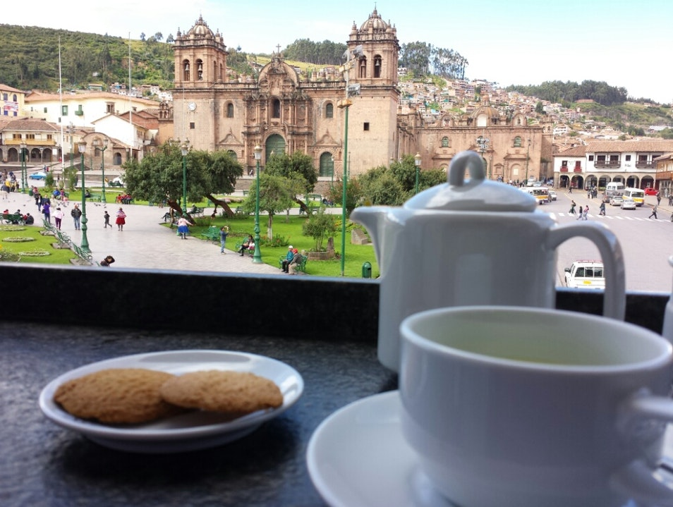 Coca Tea at the Plaza Cafe Cusco  Peru