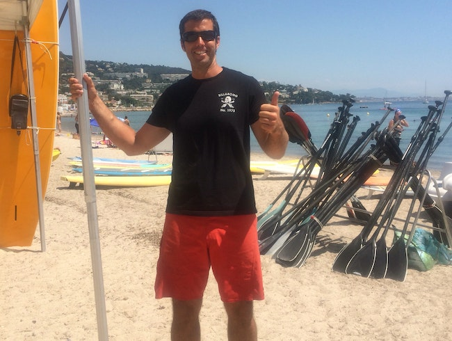 Paddle boarding with Cannes legend