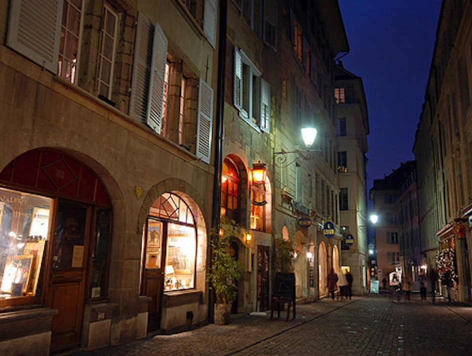 Geneva Old Town at night Genève  Switzerland