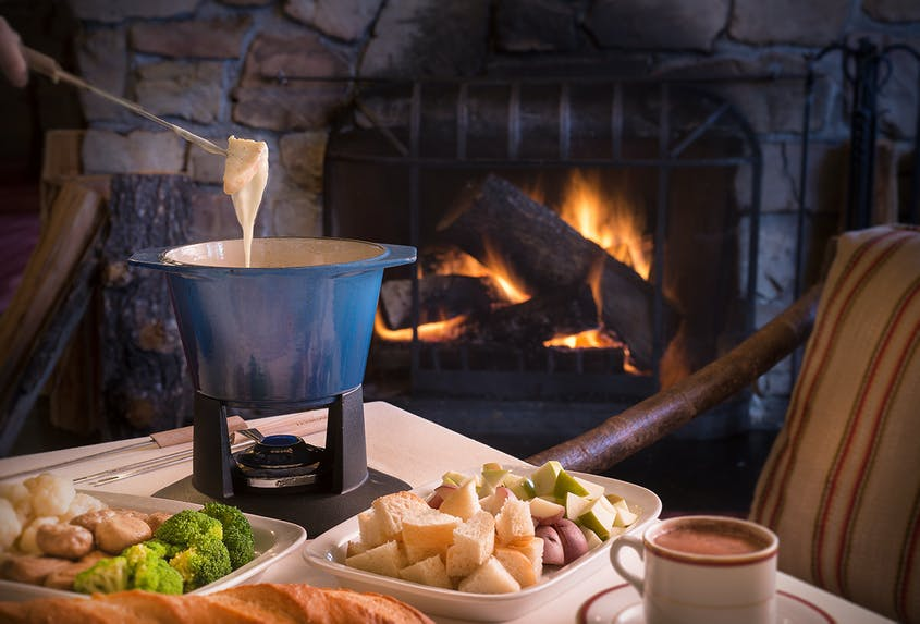 The fondue is a favorite at The Roundhouse on Bald Mountain.