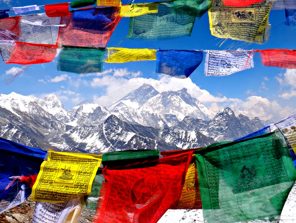 The Perfect View of Mount Everest from Renjo La Pass Khumjung  Nepal