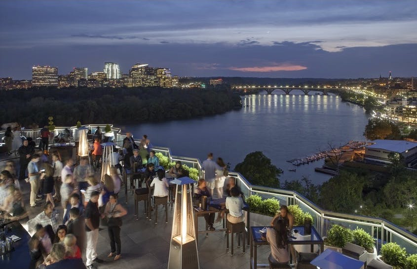 Soak in the 360-degree views of the Potomac River and other D.C. landmarks at the Watergate Hotel's Top of the Gate.