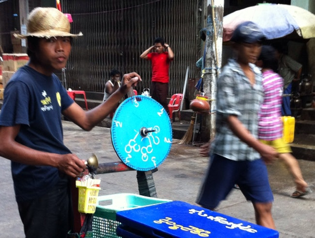 Ice Cream Paddler In Downtown, Yangon
