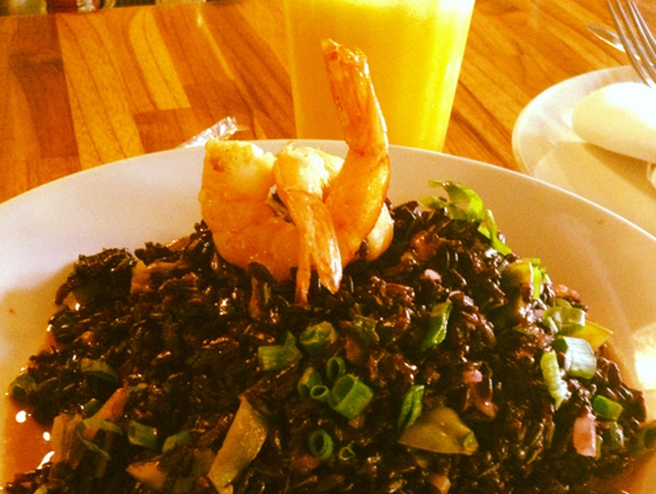 Black rice with prawns at Market   Brazil