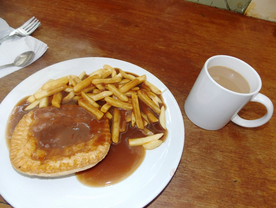 Meat pies & gravy covered chips! Cardiff  United Kingdom