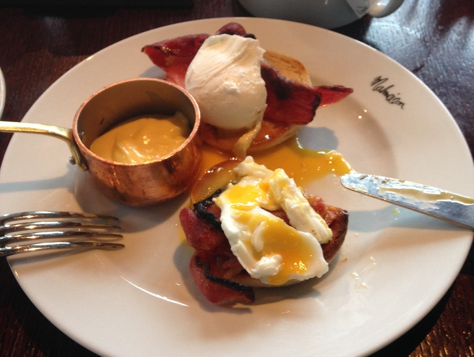 Eggs Benedict overlooking the docks, at Malmaison Liverpool Liverpool  United Kingdom