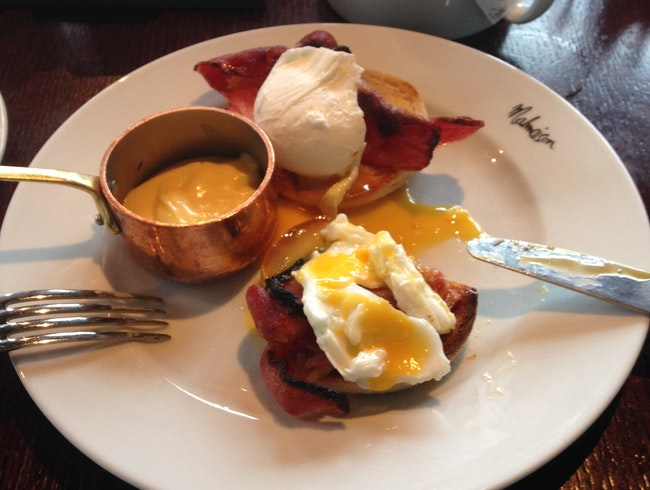 Eggs Benedict overlooking the docks, at Malmaison Liverpool