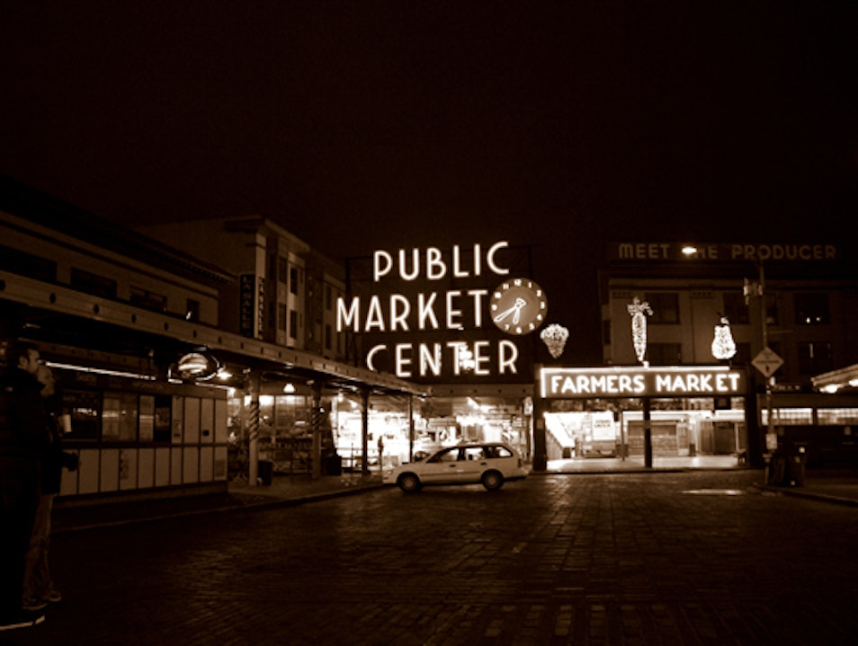 Pike Place Market at 6:45 A.M. Seattle Washington United States