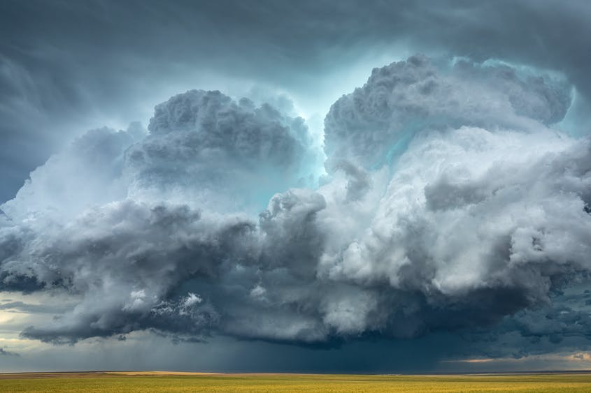 Hail-filled clouds linger in the sky above Strasburg, Colorado, on June 19, 2018.