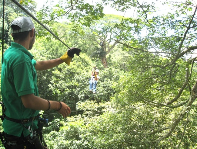 Zip-lining a Volcano Jungle Canopy