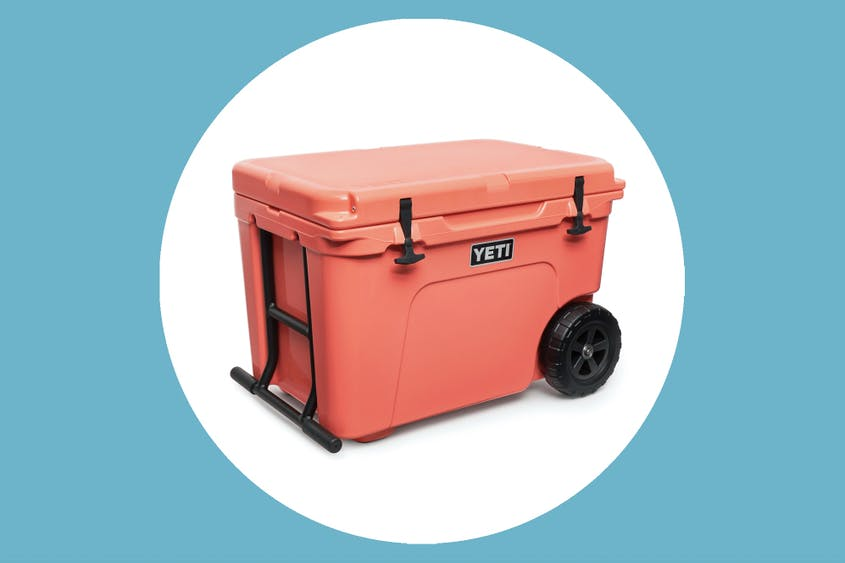 The Yeti Tundra Haul comes in the coral color seen here, as well as navy, white, and tan.