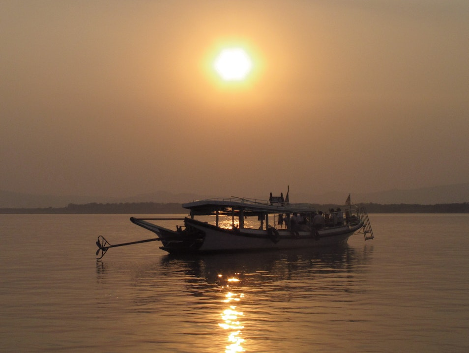 Sunset on the Irrawaddy River in Bagan, Myanmar.
