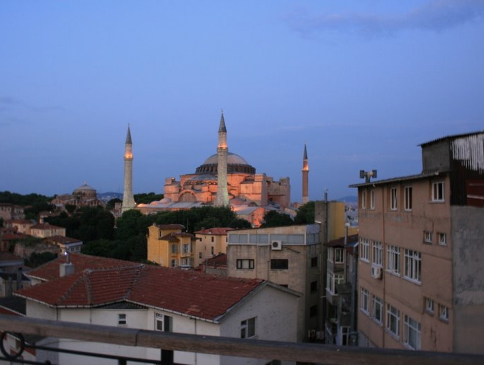 Hagia Sophia at sunset from a rooftop terrace Istanbul  Turkey