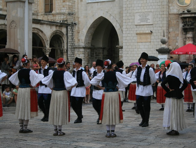 Traditional Folk Dancing in Dubrovnik's Old City Square