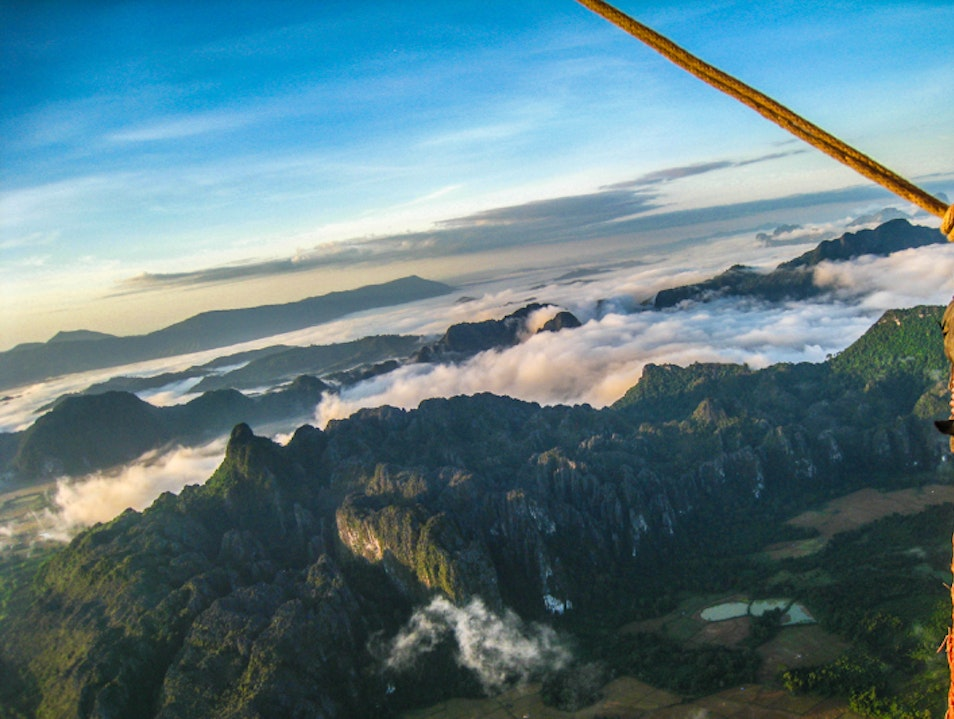 Floating through the air in Vang Vieng, Laos, Asia