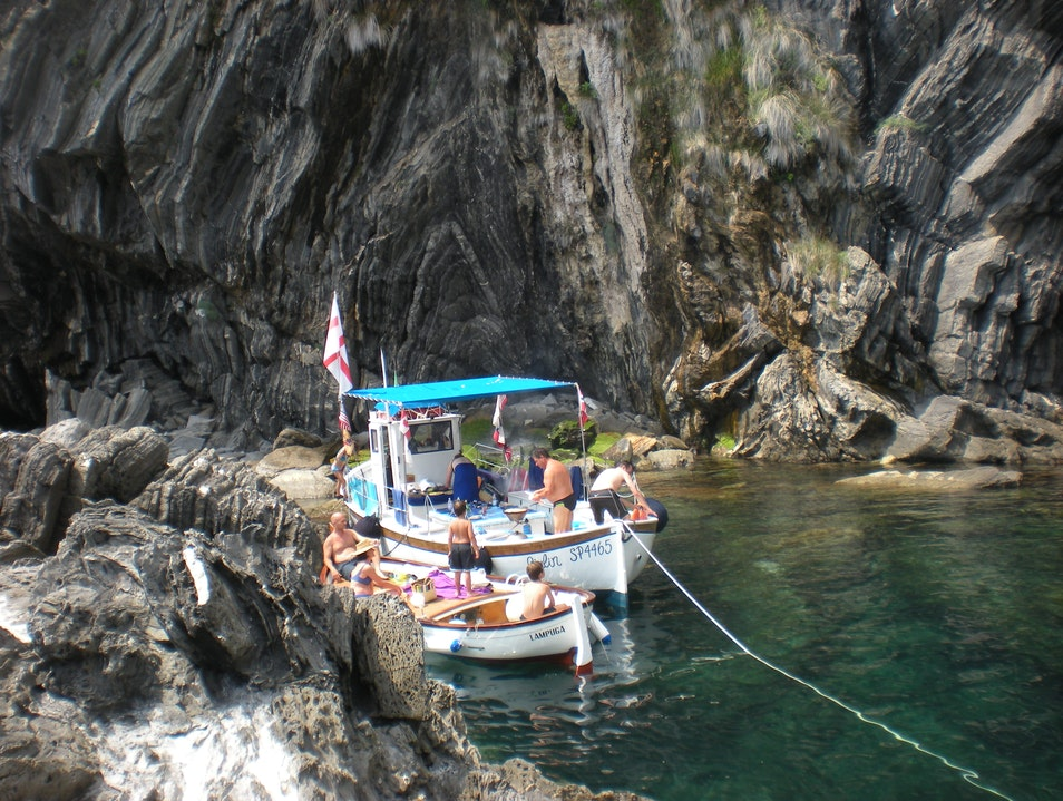Stopping for a swim and lunch in Cinque Terre Monterosso Al Mare  Italy