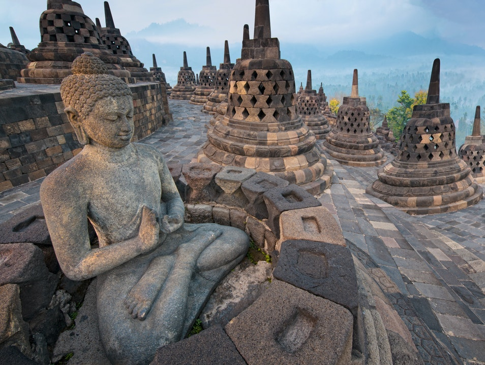 Borobudur at sunrise, memories from the past Borobudur  Indonesia