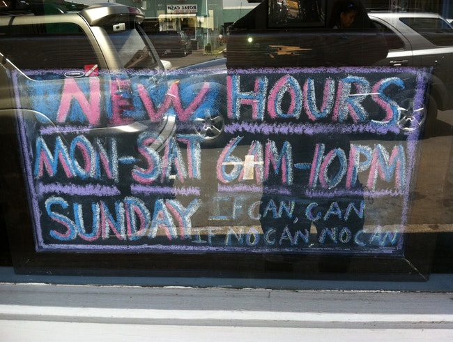 Hawaii Summed Up In A Business Hour Sign