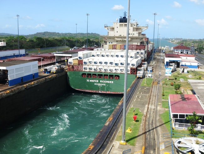 Panamax Ship Squeezes Through Panama Canal Locks