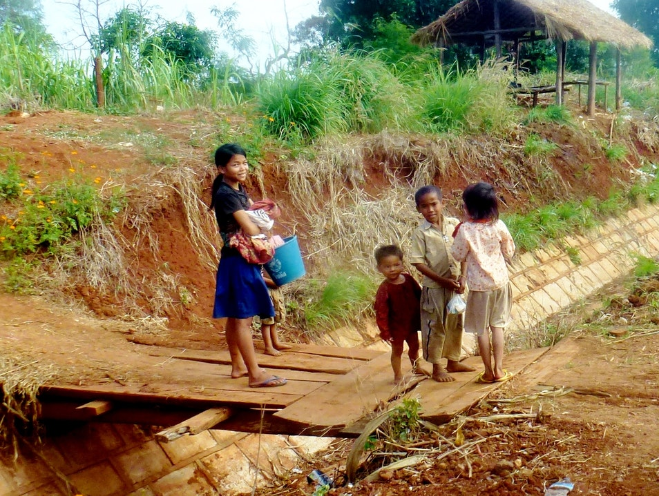 Curious Children watch us Cycle Rotanak Mondol  Cambodia