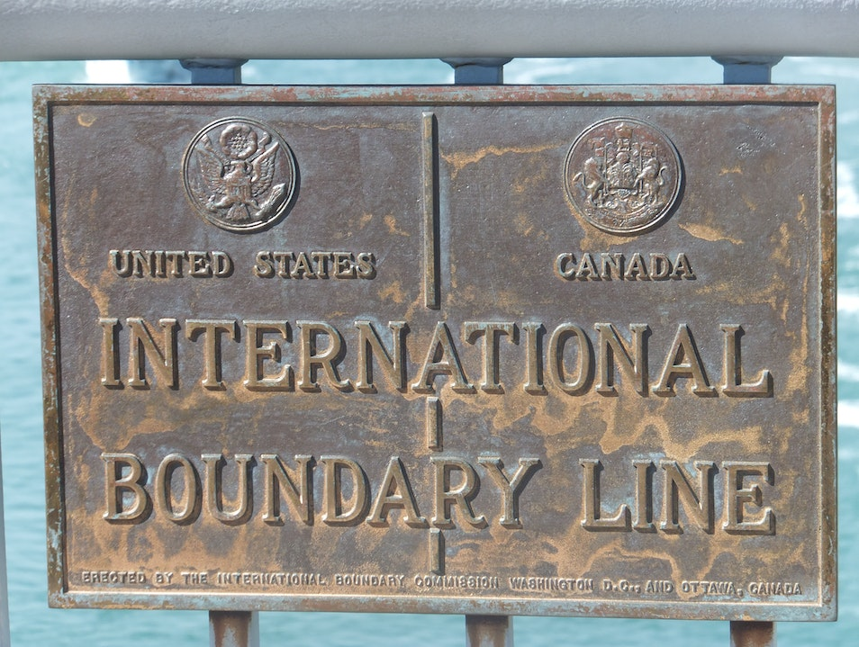 Walking across the border Niagara Falls  Canada