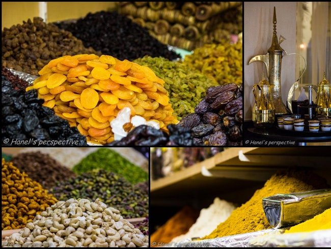 Delicious nuts and spices at old Souks of Dubai