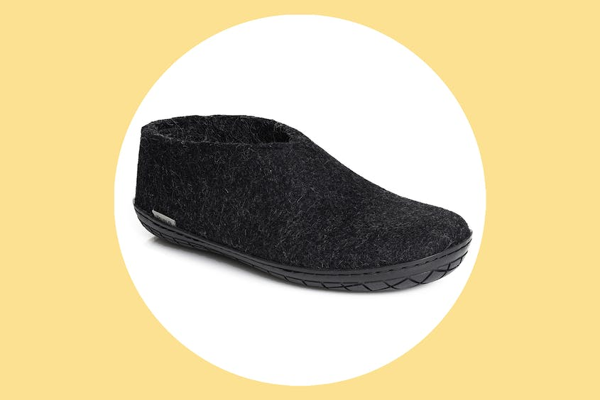 Glerups feel like slippers but have rubber soles so you can wear them outside.