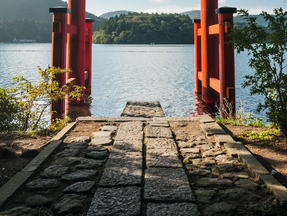 Torii Gate on the Shore of Lake Ashi Hakone  Japan