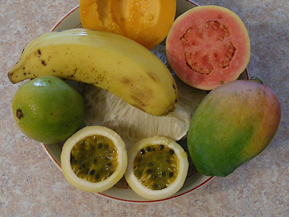 Snack on fresh mangoes, guava and passion fruit