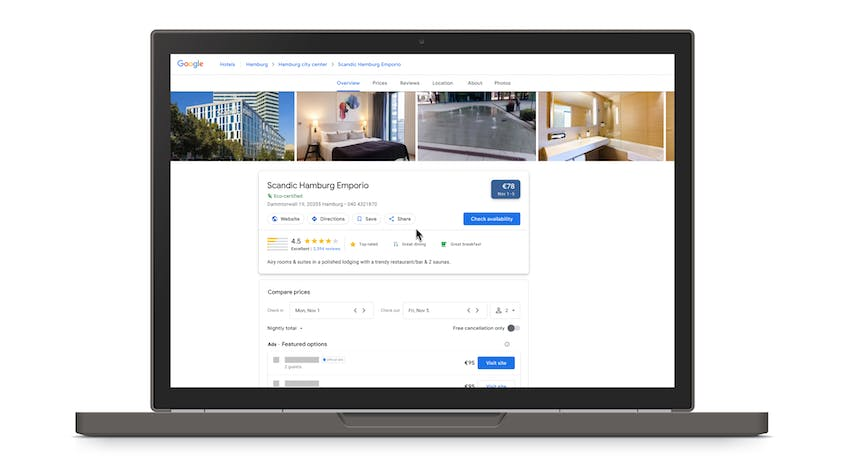 Hotels with certified green practices will now appear with a green leaf symbol in Google search results.