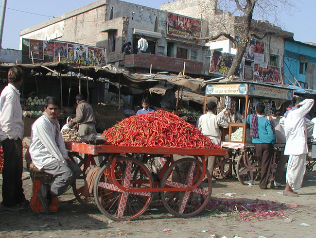 Markets: On the road between Jaipur and Agra, India