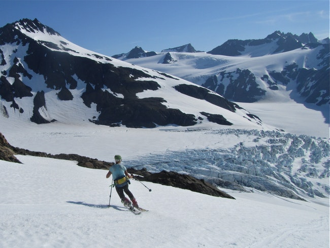 Skiing glaciers in the Kenai Mountains of Alaska