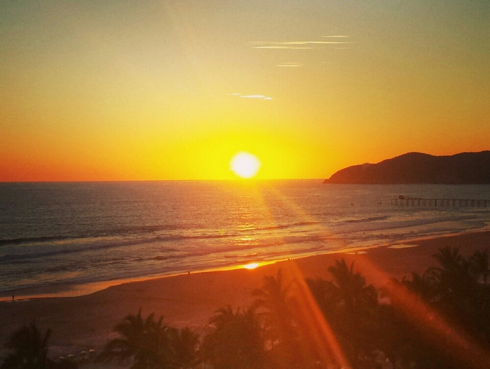 Mexican sunset by the beach Acapulco  Mexico