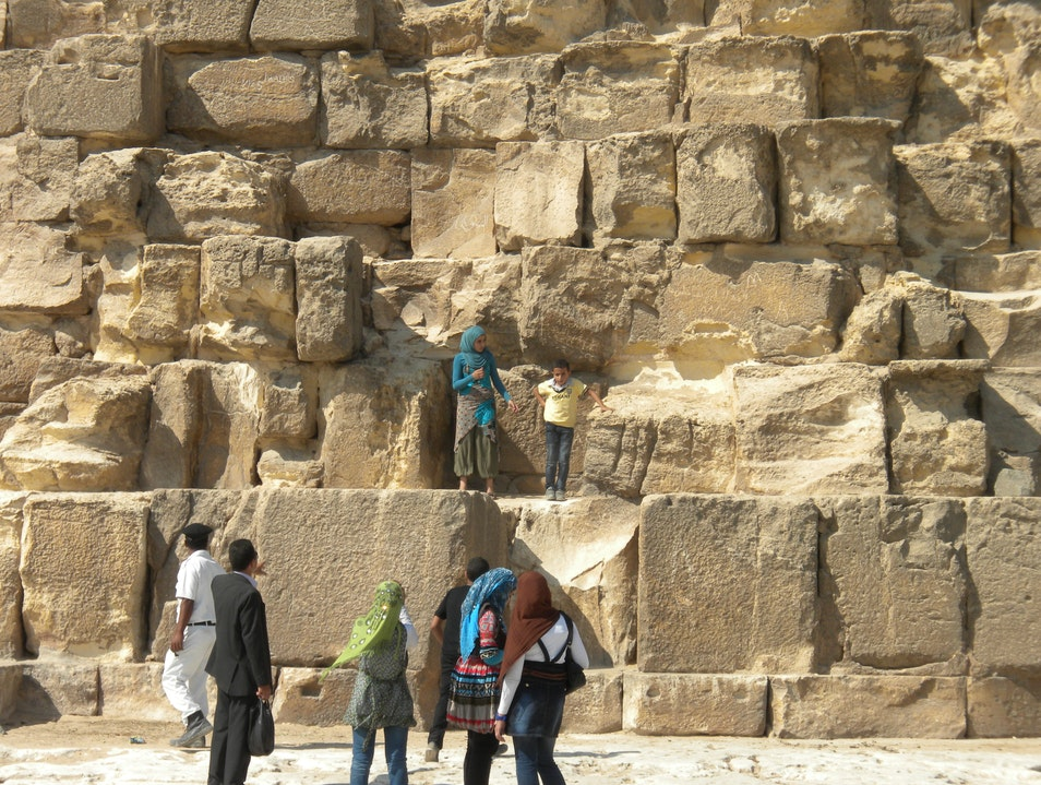 Frolicking on the pyramids Cairo  Egypt