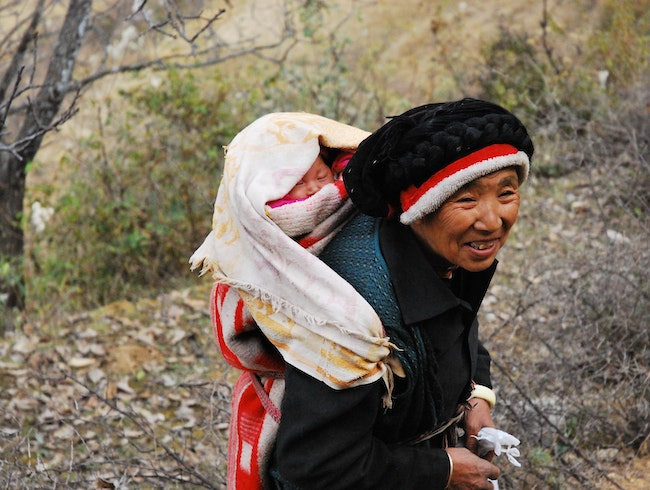 Tibetan Grandmother and Child