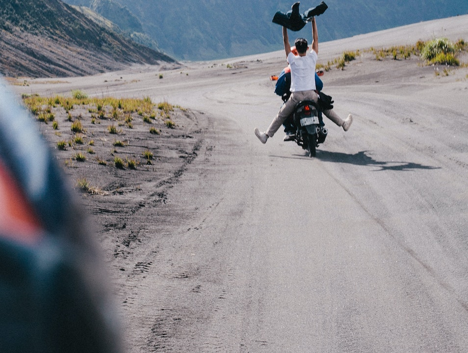 Motorcycling across the Desert to Get to Bromo Volcano