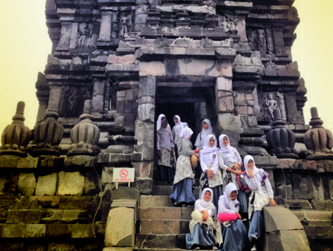 Schoolgirls visiting the Prambanan  Temple