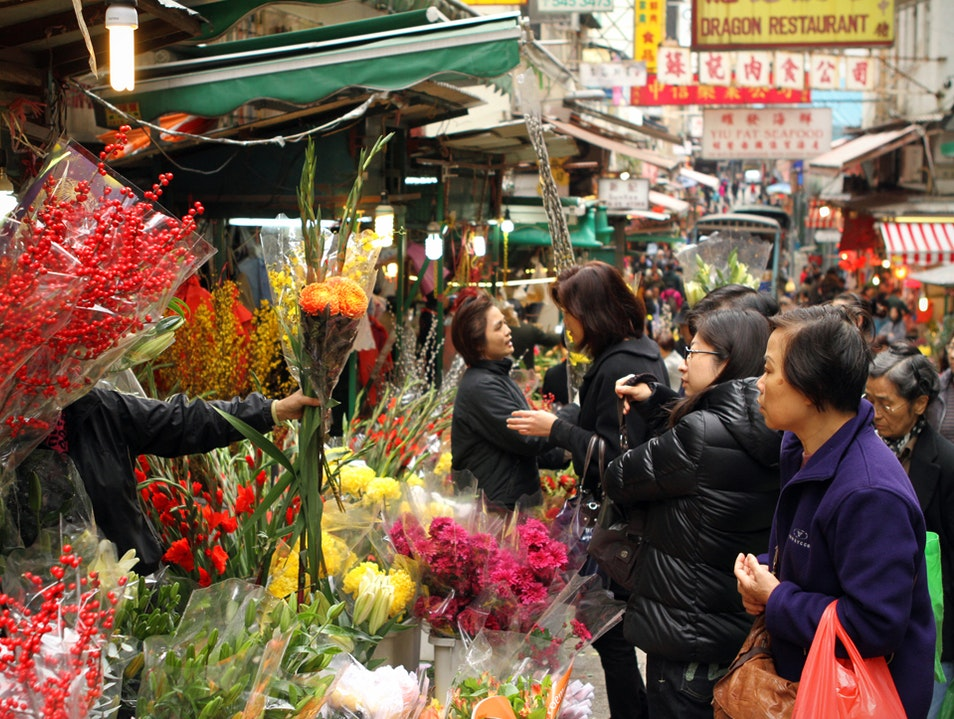 Flower Stall off of Aberdeen Central  Hong Kong