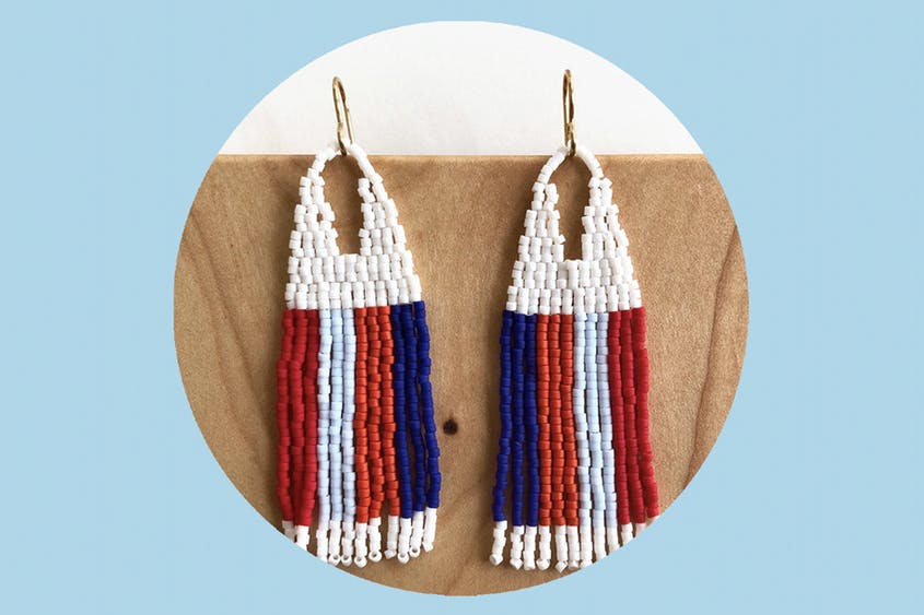 The Rainbow Stripe Beaded Fringe Earrings are just one of a few dozen designs available from Lillie Nell Beadworks.