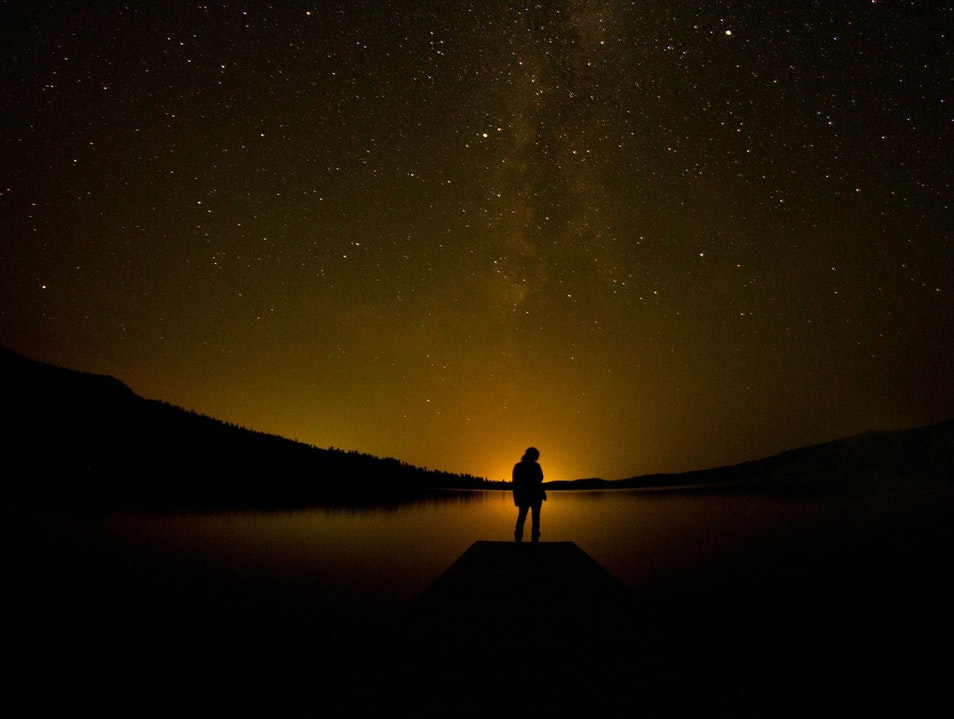 Stargazing at the Half Moon Lake. Pinedale Wyoming United States