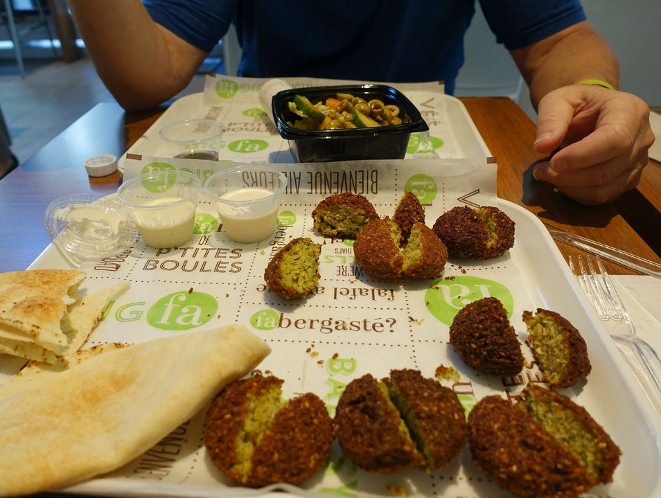 Four Kinds of Falafel. All Delicious and Fresh. Montreal  Canada