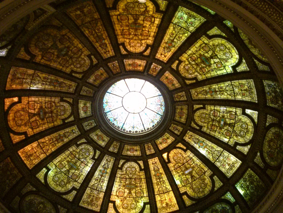 Gazing at the World's Largest Tiffany Glass Dome Chicago Illinois United States