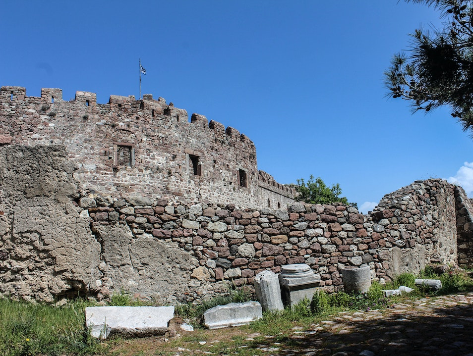 A well-preserved fortress on Lesvos island Mitilini  Greece