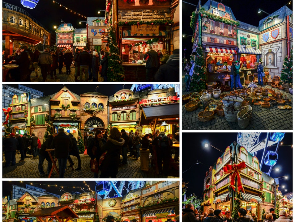 Colorful Christmas market  Dusseldorf  Germany
